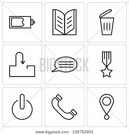 Set Of 9 Simple Editable Icons Such As Location Pointer, Headphones, Power Button, Medal With A Star