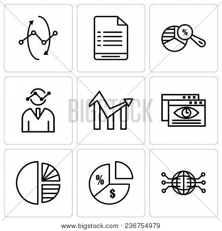 Set Of 9 Simple Editable Icons Such As Globe Connected Circuit, Pie Chart Information On Money, Simp