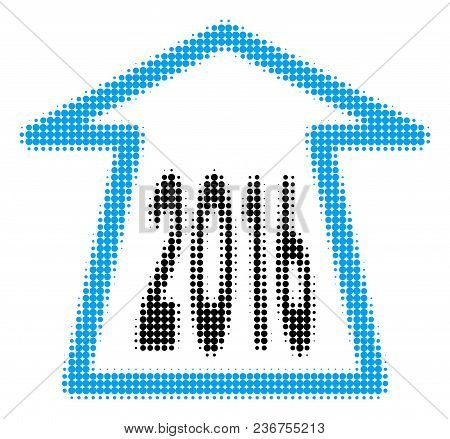 2016 Ahead Arrow Halftone Vector Pictogram. Illustration Style Is Dotted Iconic 2016 Ahead Arrow Ico