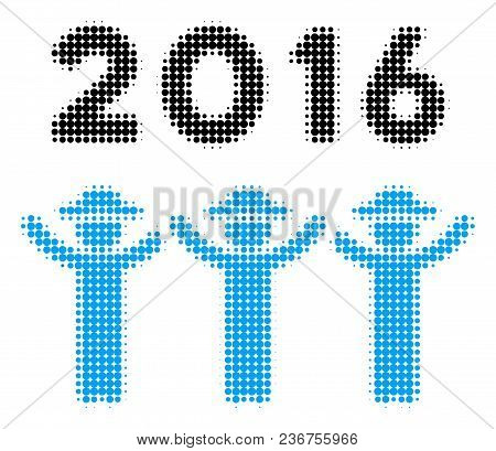 2016 Guys Dance Halftone Vector Icon. Illustration Style Is Dotted Iconic 2016 Guys Dance Icon Symbo