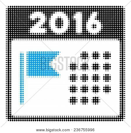 2016 Holiday Calendar Halftone Vector Icon. Illustration Style Is Dotted Iconic 2016 Holiday Calenda