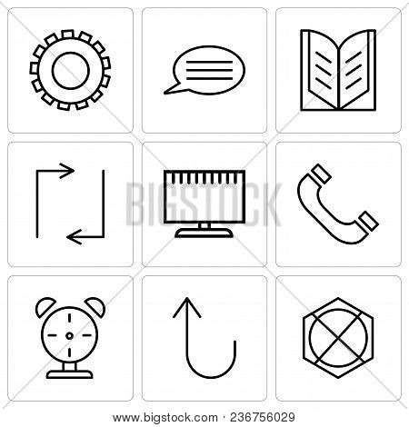 Set Of 9 Simple Editable Icons Such As Arrow Pointing To Up, Cancel Button, Alarm Clock, Headphones,