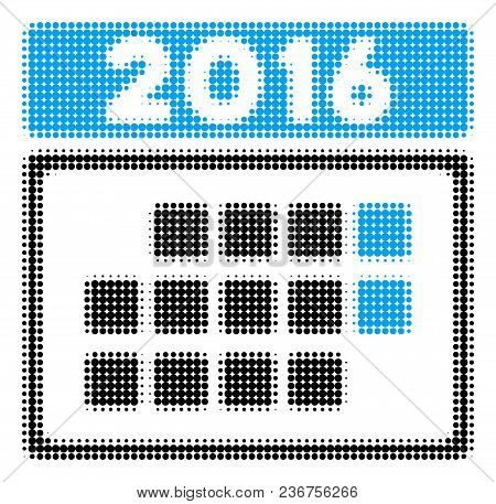 2016 Month Calendar Halftone Vector Pictogram. Illustration Style Is Dotted Iconic 2016 Month Calend