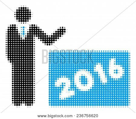 2016 Show Halftone Vector Pictogram. Illustration Style Is Dotted Iconic 2016 Show Icon Symbol On A