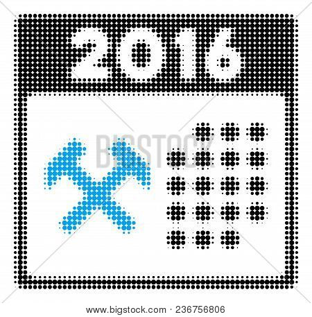 2016 Working Days Halftone Vector Pictogram. Illustration Style Is Dotted Iconic 2016 Working Days I