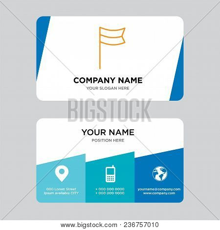 Location Flag Business Card Design Template, Visiting For Your Company, Modern Creative And Clean Id