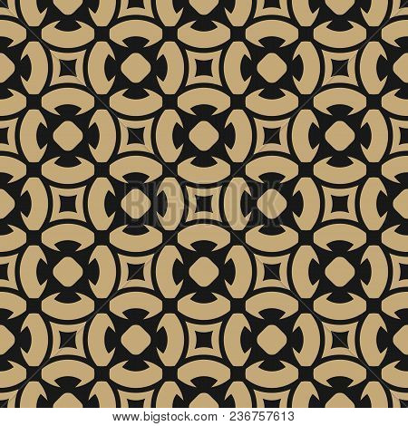 Golden Abstract Seamless Pattern In Oriental Style. Vector Ornamental Background With Floral Tiles,