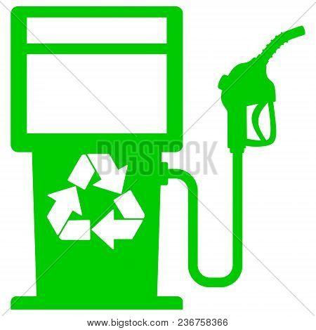 Bio Fuel Pump Graphic - A Vector Cartoon Illustration Of A Bio Fuel Gas Pump Concept.