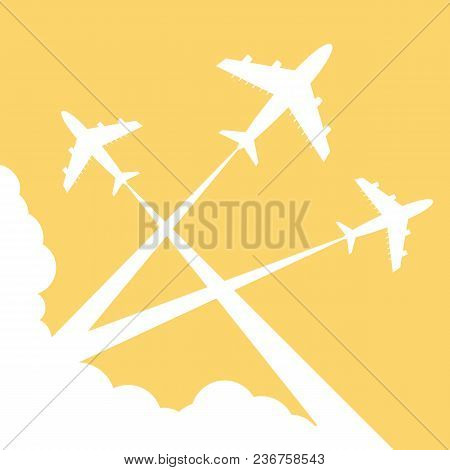 Silhouettes Planes In Sky. Illustration. Traces Of The Plane
