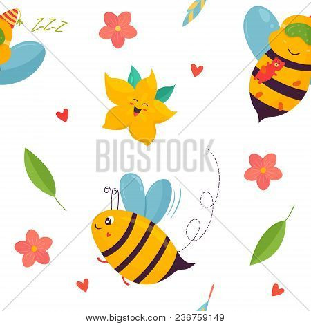 Bright Pattern With Bees, Carambola And Other Elements