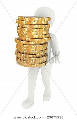 3D Man Carrying Coins