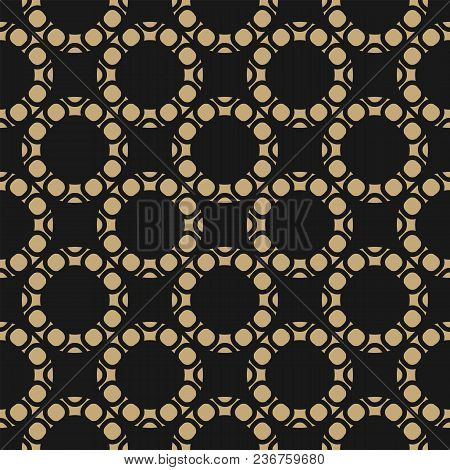 Vector Golden Geometric Seamless Pattern. Abstract Background With Circles, Rings, Circular Mesh, Gr