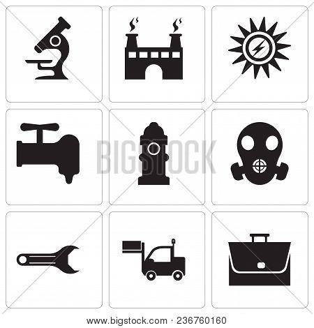 Set Of 9 Simple Editable Icons Such As Bag, Lorry, Adjustable Wrench, Respirator, Fire Hydrant, Cran