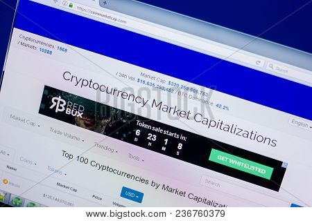 Ryazan, Russia - April 16, 2018 - Homepage Of Coinmarketcap Website On The Display Of Pc, Url - Coin
