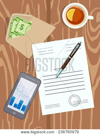 Vector Image Of Desktop With Business Papers, Money In An Envelope, Pen, Mobile Phone And Cup Of Tea