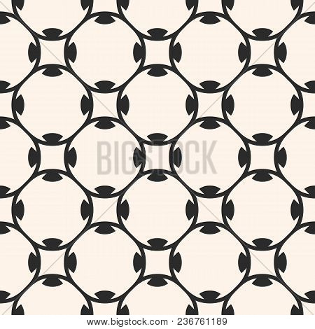 Vector Seamless Pattern. Monochrome Abstract Geometric Texture, Subtle Rounded Lattice, Floral Shape