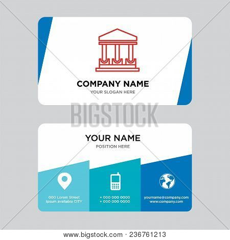 Government Building Business Card Design Template, Visiting For Your Company, Modern Creative And Cl