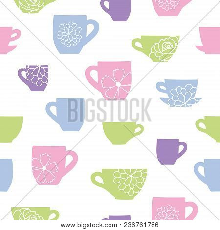 Cups And Flowers Teatime Seamless Pattern. Great For Tea Party Invitations, Fabric, And Cafe Or Rest