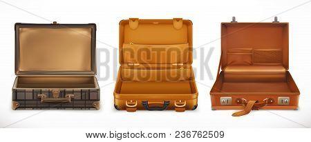 Travel. Open Suitcase. 3d Vector Icon Set
