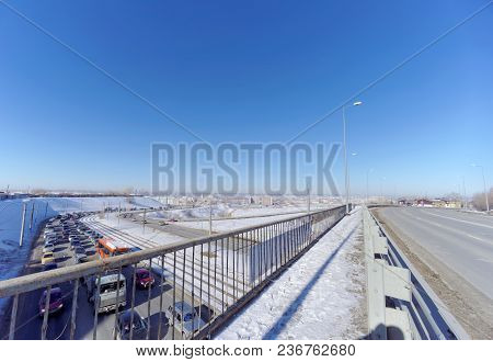 Nizhny Novgorod, Russia. - March 29.2018. View Of The Descent Towards The Oka Bridge And The Metro B