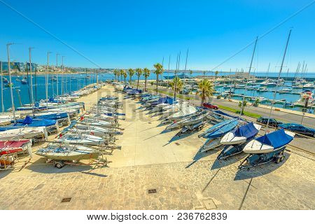 Cascais, Portugal - August 6, 2017: Yacht And Motor Boats At Cascais Marina. The Marina Is Located U