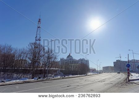 Nizhny Novgorod, Russia. - March 29.2018. The New Building Of The Regional Court. View From Afar Wit