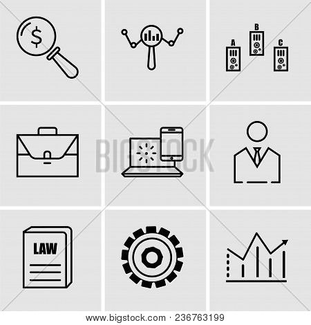 Set Of 9 Simple Editable Icons Such As Statistic, Setting, Law Book, Business Man, Internet, Portfol