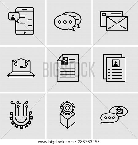 Set Of 9 Simple Editable Icons Such As Email Chat, Development, Settings, Flyer, Call Center, Mail,