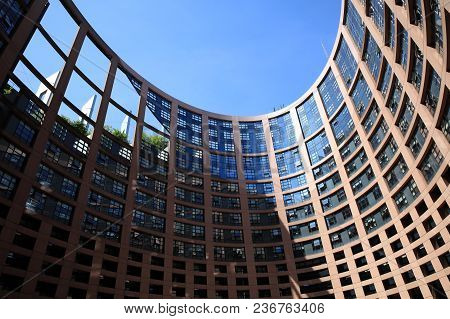 Strasbourg, France - April 18, 2018: European Parliament Building With Windows Of Members Of The Eur