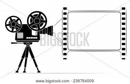An Old Film Projector On A Tripod. Frame In The Form Of A Film Frame With Perforation. Black Outline