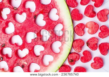 Watermelon Fruit With Heart Shaped Cut Outs Isolated