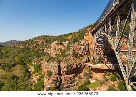 View Of The Midgley Bridge Over Wilson Canyon Near Sedona, Arizona, Usa.