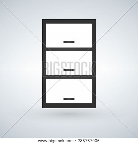 Drawer, Nightstand Or Bedside Table With Handles Front View. Vector Isolated On Modern Background