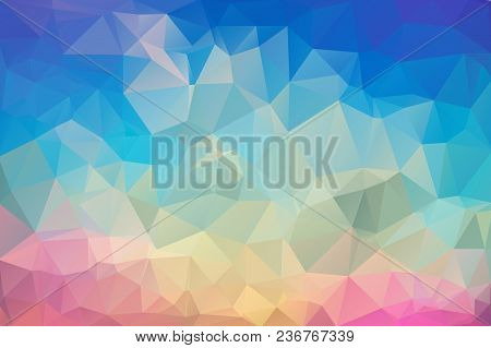 Abstract Multicolored Polygon, Low Polygon Background. Transfusion Of Color. Geometric Pattern. Blue