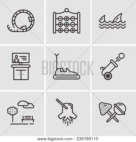 Set Of 9 Simple Editable Icons Such As Candy, Lighting, Park, Cannon, Bumper Car, Tv, Sharks, Tic Ta