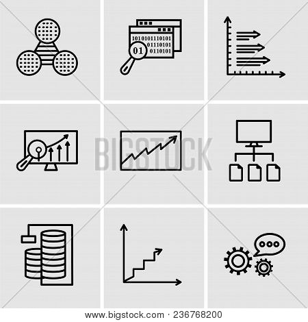 Set Of 9 Simple Editable Icons Such As 3d Data Analytics, Data Analytics Ascending, Database Analysi