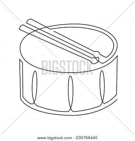 Continuous Line Drawing Of Snare Drum Vector Icon. Musical Instrument Single Line For Decoration, De