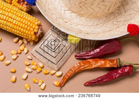 Mexican Hat, Pyramid Figurine, Corn And Hot Pepper, Concept Of Traveling To Mexico