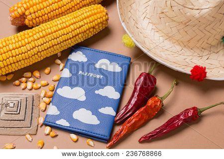 Mexican Hat, Pyramid Figurine, Corn Cob, Hot Pepper And Passport, Travel Concept