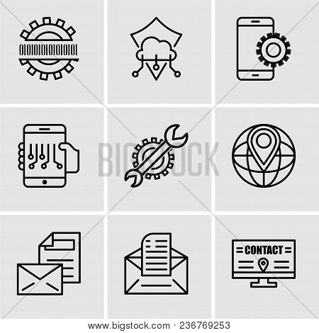Set Of 9 Simple Editable Icons Such As Billboard, Email, Mail, World Placeholder, Settings, Smartpho