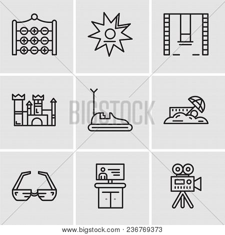 Set Of 9 Simple Editable Icons Such As Video Camera, Tv, 3d Glasses, Sand, Bumper Car, Castle, Swing