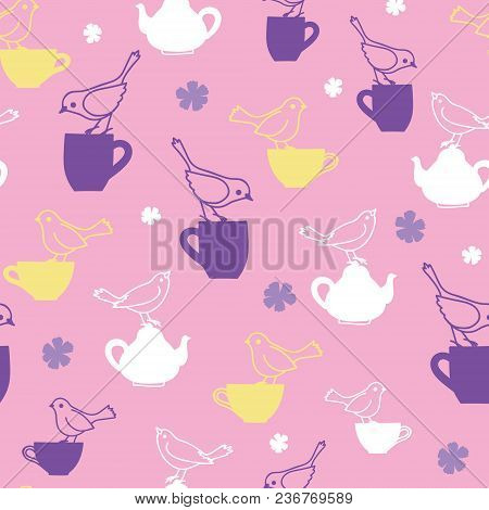 Tea Party With Birds Teatime Seamless Pattern. Great For Tea Party Invitations, Fabric, And Cafe Or