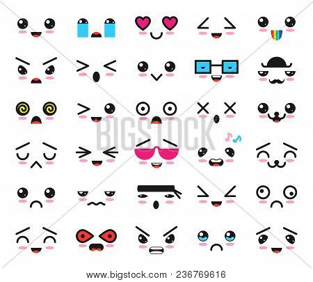Kawaii Emoticon Vector Cartoon Emotion Character With Face Expression Illustration Emotional Set Of