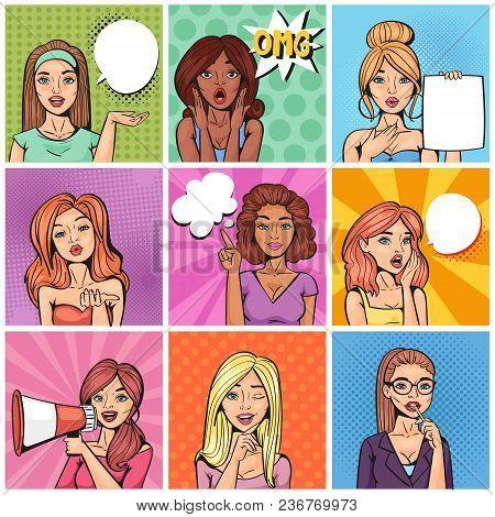 Comic Woman Vector Popart Cartoon Girl Character Speaking Bubble Speech Or Comicgirl Illustration Fe