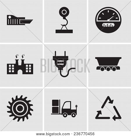 Set Of 9 Simple Editable Icons Such As Triangle, Truck, Saw Blade, Freight Wagon, Electrical Plug, F