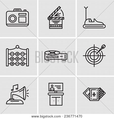 Set Of 9 Simple Editable Icons Such As Casino, Tv, Gramphone, Darts, Video Recorder, Tic Tac Toe, Bu