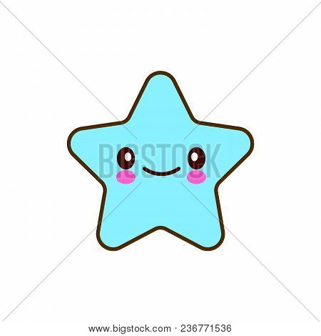 Emotional Faces Star Cute Smiles. Vector Illustration Smile Icon. Face Emoji Blue Icon. Smile Cute F
