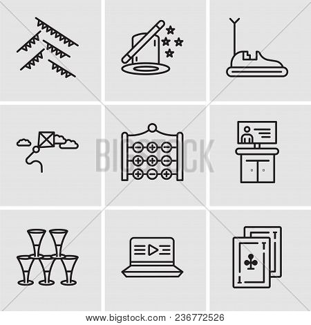 Set Of 9 Simple Editable Icons Such As Cards, Movie, Glasses, Tv, Tic Tac Toe, Kite, Bumper Car, Mag