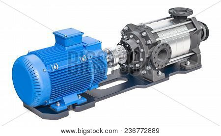 Electric Water Pump, Horizontal Multistage Centrifugal Pump. 3d Rendering Isolated On White Backgrou