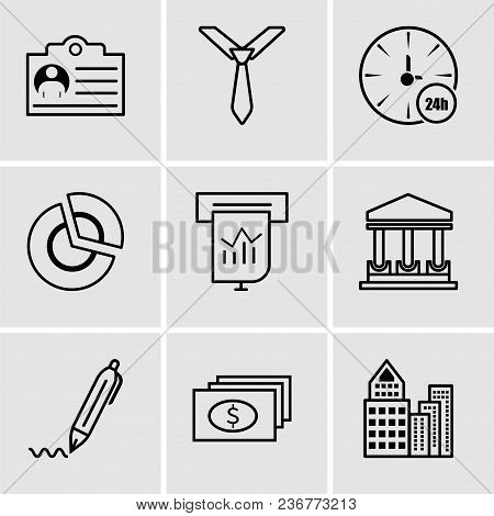Set Of 9 Simple Editable Icons Such As Building, Dollar, Pen, Government Building, Presentation, Pie